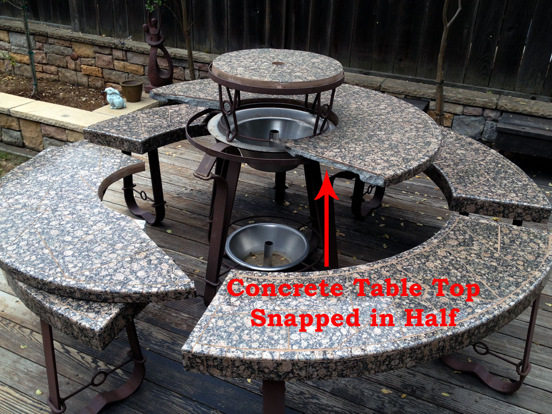 Some Companies Use Concrete Table Tops Which Are Then Covered In Tile Over Time Will Dry Out Crumble And Break See Photo Below