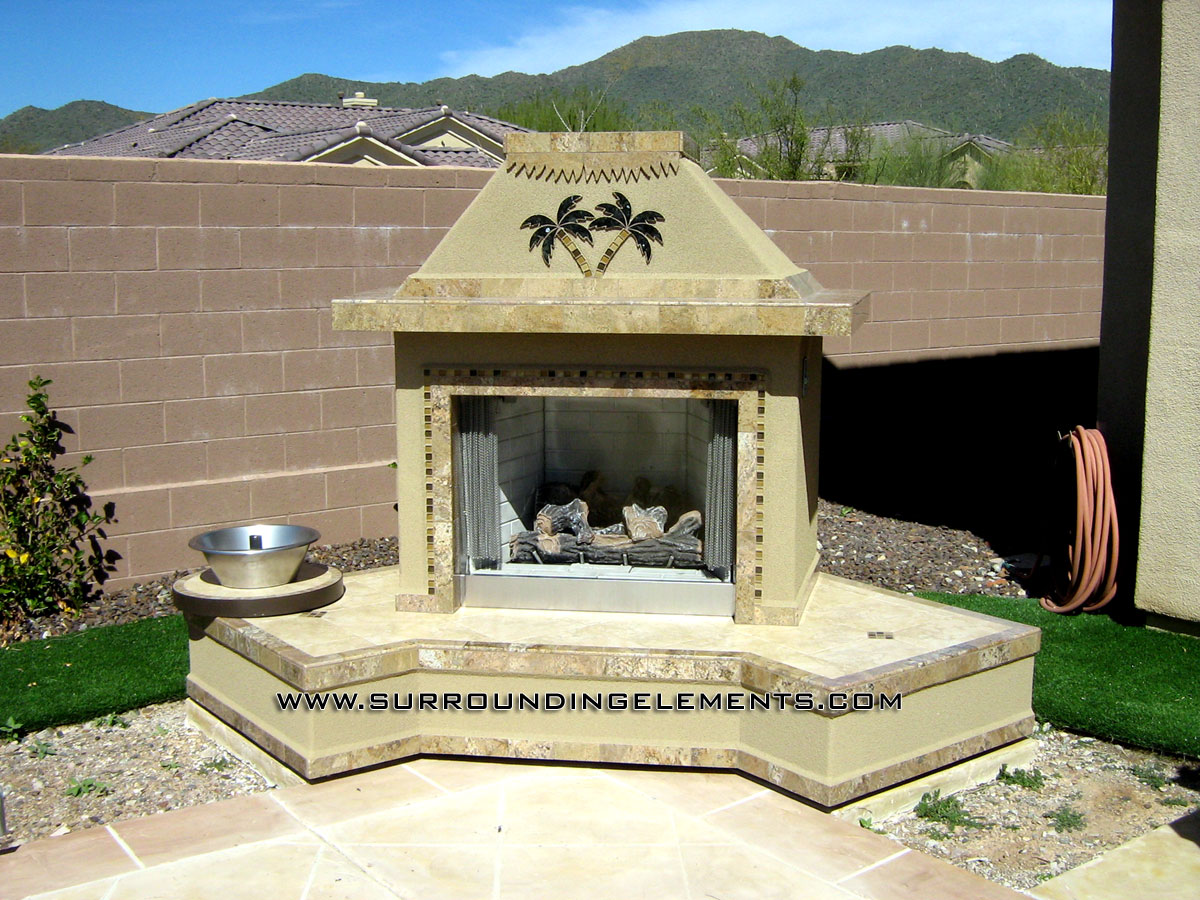 outdoor fireplaces by surrounding elements
