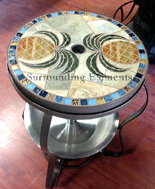 Side Table With Ice Bucket And Center Plug Pineapple Design On Plug Item#  SS2 Part 59