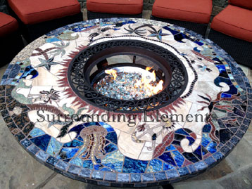 Elegant 5u0027 Round Leg Warmer Table With Crystal Fire And Ornate Ring